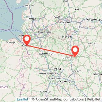 Nottingham Chester train map
