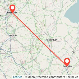 Nottingham Cambridge bus map