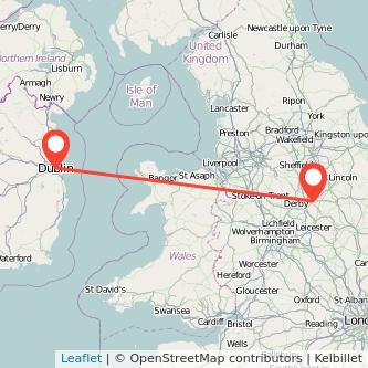 Nottingham Dublin flight map
