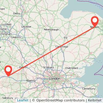 Norwich Swindon train map