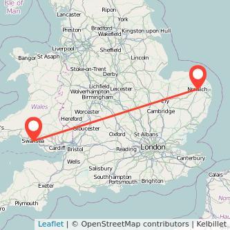 Norwich Swansea train map