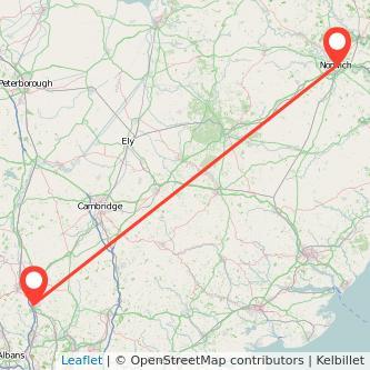 Norwich Stevenage train map