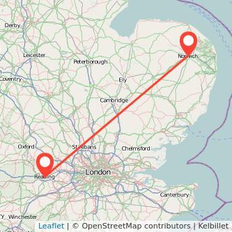 Norwich Reading train map