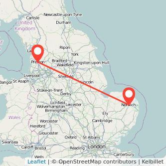Norwich Preston train map