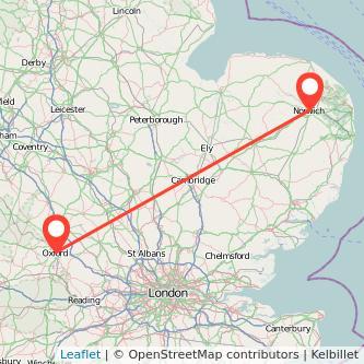 Norwich Oxford train map