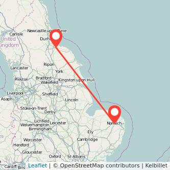 Norwich Middlesbrough train map