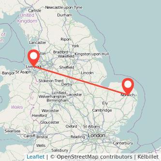 Norwich Liverpool train map