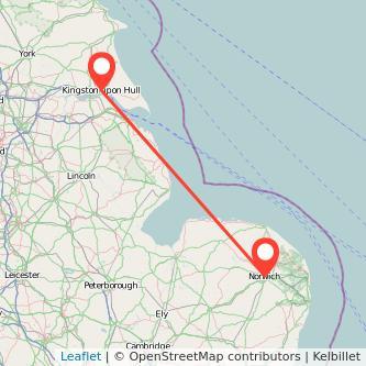 Norwich Hull train map