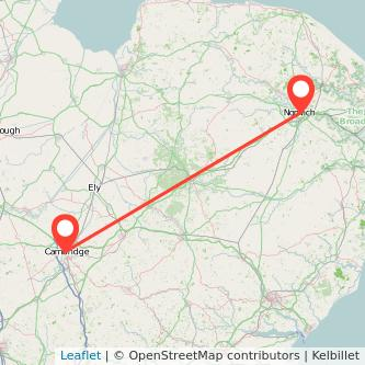 Norwich Cambridge bus map