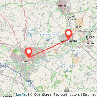 Northampton Wellingborough bus map