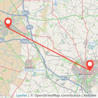 Northampton Rugby bus map