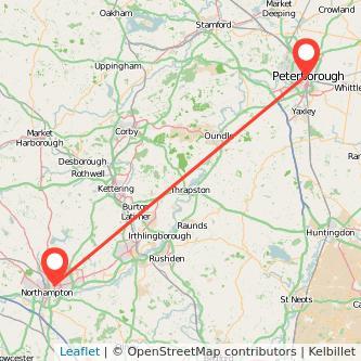 Northampton Peterborough bus map