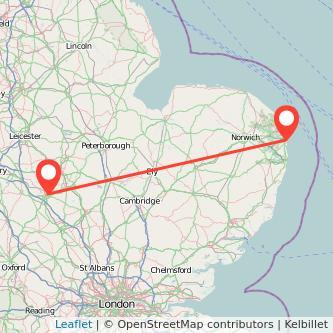 Northampton Great Yarmouth bus map