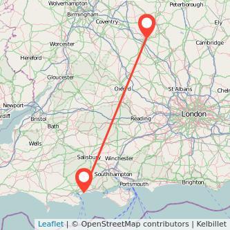 Northampton Bournemouth train map