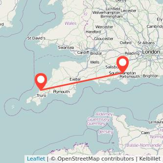 Newquay Southampton train map
