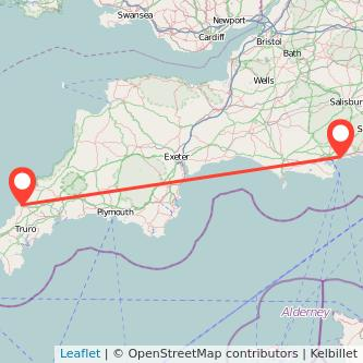 Newquay Bournemouth train map