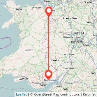 Newport Wrexham train map