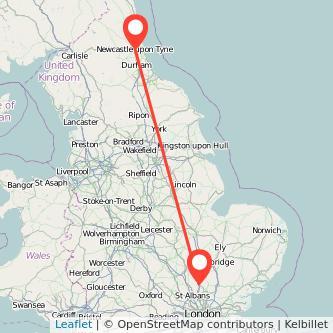 Newcastle upon Tyne Stevenage train map