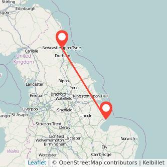 Newcastle upon Tyne Skegness train map
