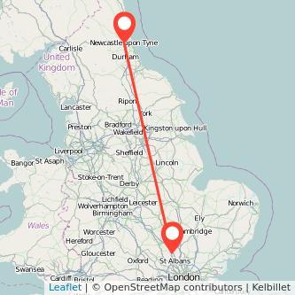 Newcastle upon Tyne Luton bus map