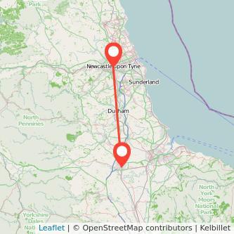 Newcastle upon Tyne Darlington bus map