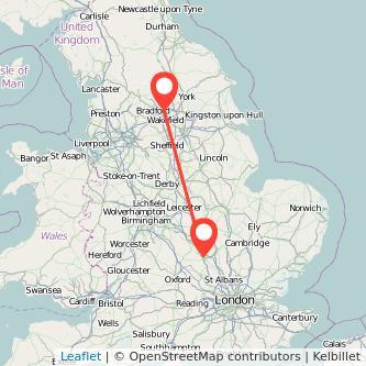 Milton Keynes Leeds bus map