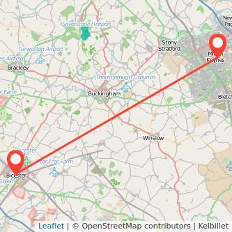 Milton Keynes Bicester bus map