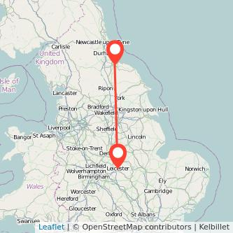Middlesbrough Leicester train map