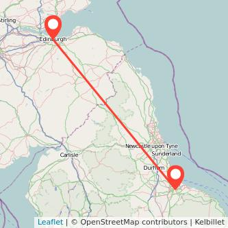 Middlesbrough Edinburgh train map