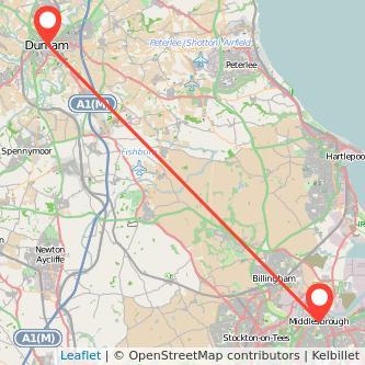 Middlesbrough Durham bus map