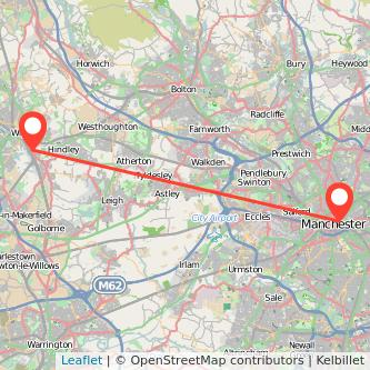 Manchester Wigan train map