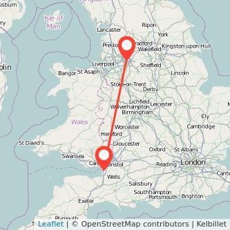 Manchester Weston-super-Mare train map