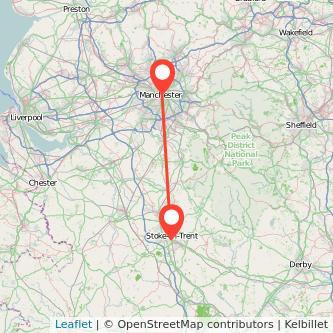 Manchester Stoke-on-Trent train map