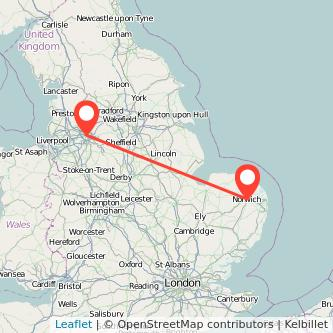Manchester Norwich train map