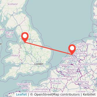 Manchester Amsterdam flight map