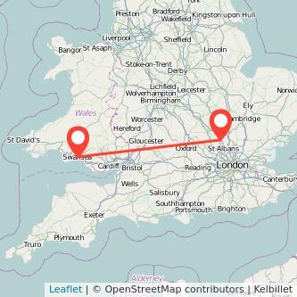 Luton Swansea train map
