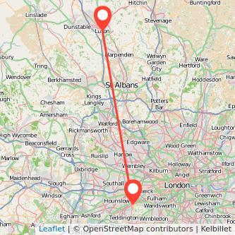 Luton Richmond train map