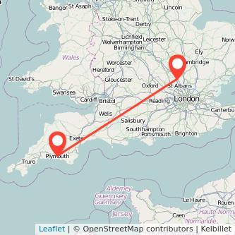 Luton Plymouth train map