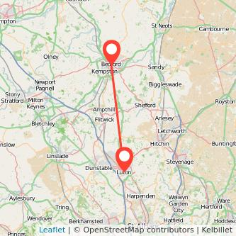 Luton Bedford bus map