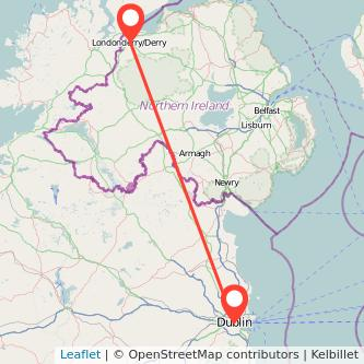 Derry Dublin flight map