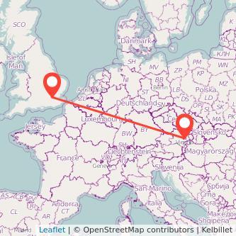 London Vienna train map
