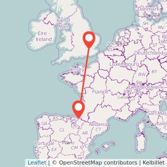 Mapa del viaje Londres San Sebastián en tren