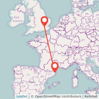 Mapa del viaje Londres Figueres en tren
