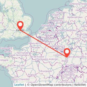 London Strasbourg bus map