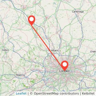 London Milton Keynes train map