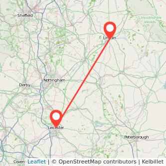Leicester Lincoln train map
