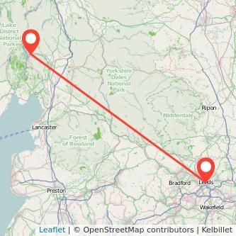 Leeds Windermere train map