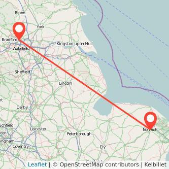 Leeds Norwich train map