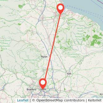 Leeds Middlesbrough bus map