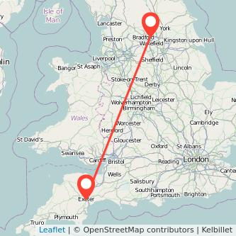 Leeds Exeter train map